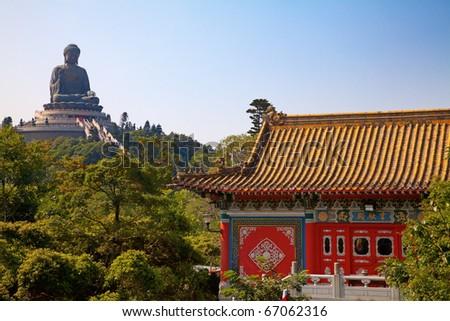 Giant Buddha statue and Po Lin monastery in Hong Kong, China - stock photo
