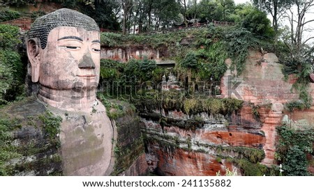 Giant Buddha Statue at Leshan of China - stock photo