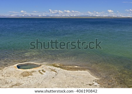 Giant Cone at the shore of Yellowstone Lake, West Thumb Geyser Basin, Yellowstone National Park - stock photo