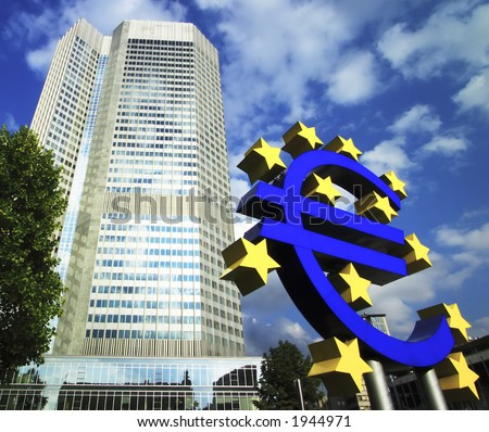 giant Euro currency sign in front of european central bank in Frankfurt, Germany - stock photo