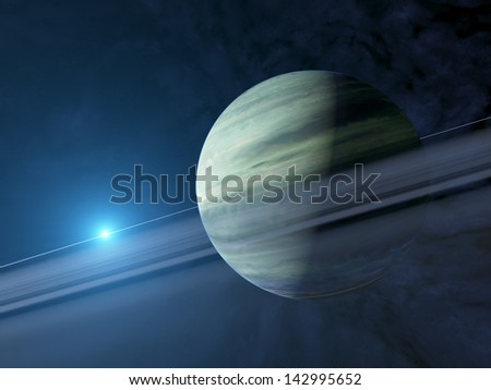 Giant extrasolar gas planet with ring system, rendered image - stock photo