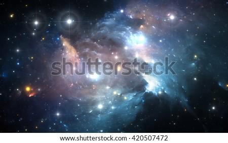 Giant glowing nebula. Space background with colorful nebula and stars  - stock photo