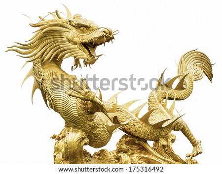 Giant golden Chinese dragon on isolate background