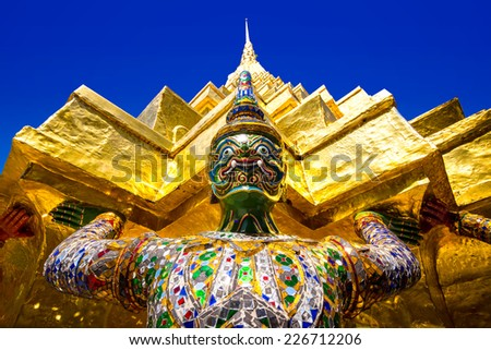 Giant hand to lift the base of the pagoda - stock photo