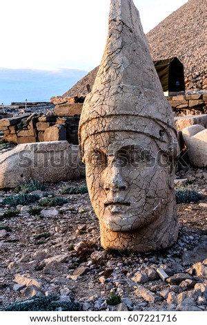 Giant head of Antiochus I Commagene, tumulus of Nemrut Dag,  Turkey
