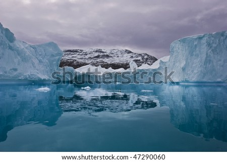 giant iceberg near the coasts of east greenland - stock photo
