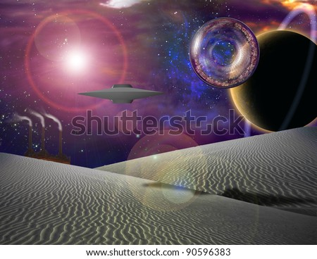 Giant interstellar vehicle contains city floats over sand landscape - stock photo