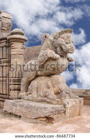 Giant lion crushing war elephant, sun temple Konark - stock photo