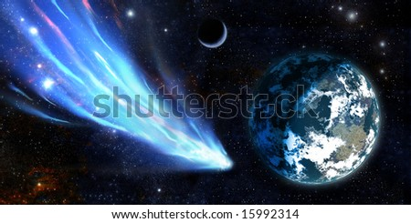 Giant meteor with train nearest of planet Earth type - stock photo