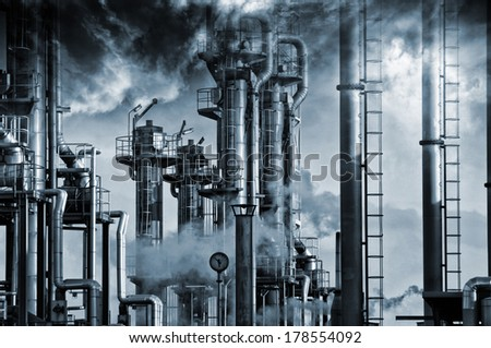 giant oil and gas refinery, smoke, fog and smog, special processing concept - stock photo