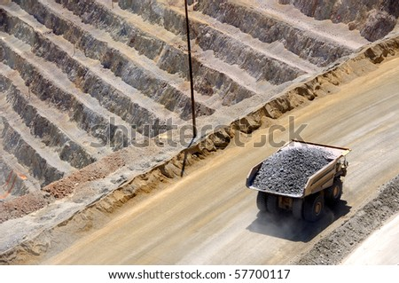 Giant Ore Truck at  Copper Mine - stock photo