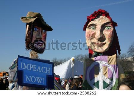 Giant puppets at anti war rally on the National Mall, Washington, DC, Saturday, January 27, 2007. - stock photo