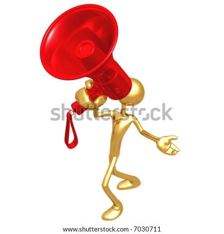 Giant Red Megaphone - stock photo