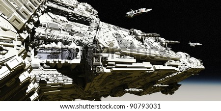 Giant space battle cruiser deploying small scout ships in low orbit over a planet, 3d digitally rendered illustration - stock photo