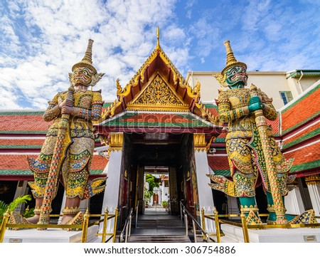 Giant statue at Wat pra kaew, Grand palace ,Bangkok,Thailand.(No restrict in copy or use) - stock photo