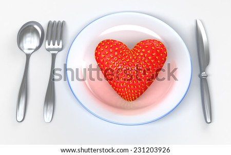 Giant  strawberry similar to heart on white dish. Metaphorical fantasy 3d illustration