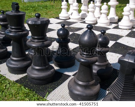Giant street chess game make the right move