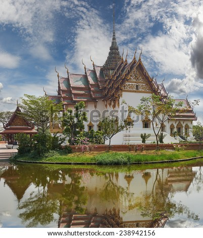 Giant Swing Palace, Ancient Siam (formerly known as Ancient City) is a park constructed under the patronage of Lek Viriyaphant and spreading over 200 acres in the shape of Thailand. - stock photo