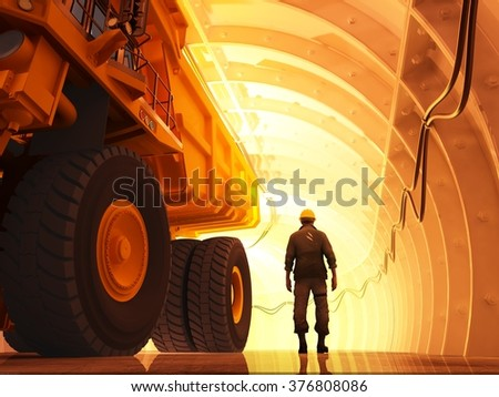 Giant truck in the tunnel. - stock photo