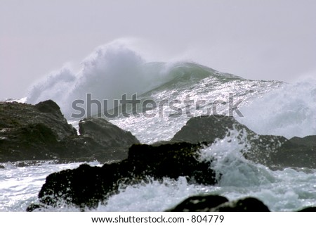 Giant wave off the coast of Northern California - stock photo