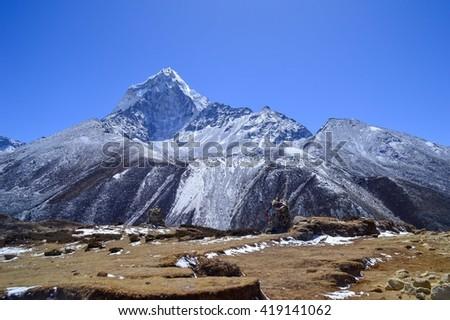 Giant white mountain, Himalayan - stock photo
