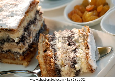 Gibanica - traditional slovene pie, filled with walnuts, poppy, cottage cheese and apples - stock photo