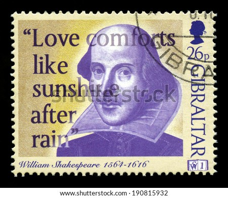GIBRALTAR - 1998: A Gibraltar Postage stamp portraying an image of famous English Playwright William Shakespeare and a quote, circa 1998. - stock photo