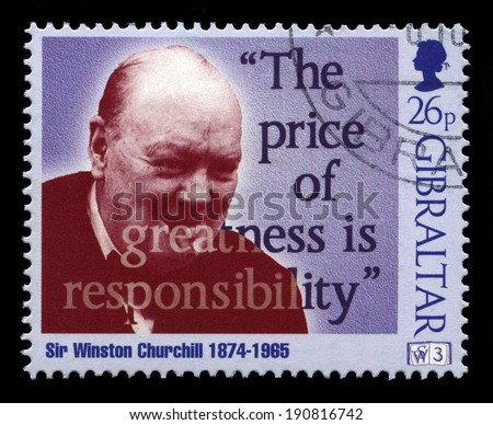 GIBRALTAR - 1998: A Gibraltar Postage stamp portraying an image of Sir Winston Churchill and a quote, circa 1998.