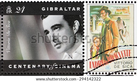 GIBRALTAR - CIRCA 1995: A postage stamp printed by GIBRALTAR shows image portrait of Italian director and actor, a leading figure in the neorealist movement - Vittorio De Sica, circa 1995. - stock photo