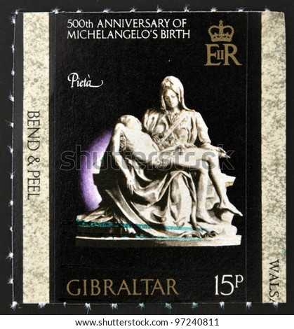 GIBRALTAR - CIRCA 1975: A stamp printed in Gibraltar dedicated to 500th anniversary of Michelangelo´s birth, shows la pieta, circa 1975 - stock photo