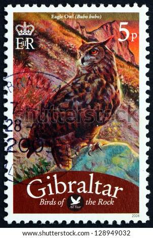 GIBRALTAR - CIRCA 2008: a stamp printed in the Gibraltar shows Eagle Owl, Bubo Bubo, Bird of Prey, circa 2008 - stock photo