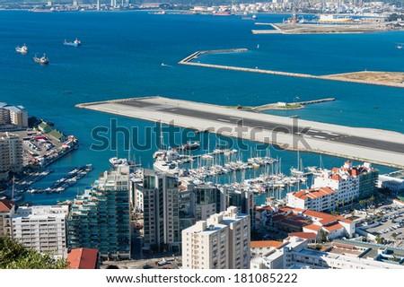 Gibraltar Marina and Airstrip - stock photo