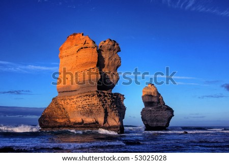 gibson steps and the twelve apostoles along great ocean road - stock photo