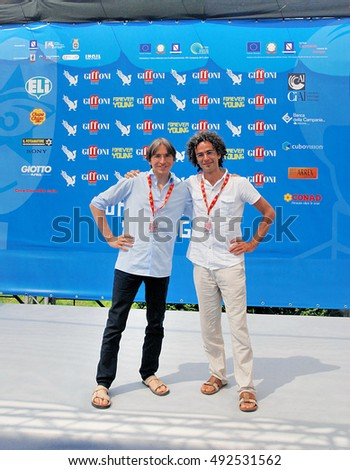 Giffoni Valle Piana, Sa, Italy - July 24, 2013 : Stefan Jager and Angelo Berardi at Giffoni Film Festival 2013 - on July 24, 2013 in Giffoni Valle Piana, Italy