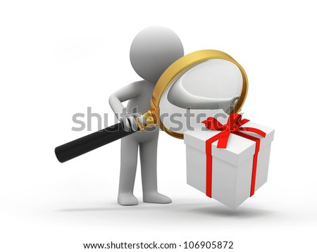 Gift/ a people is looking at the gift with a magnifier