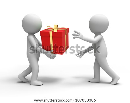 gift /A person is put a gift box to another - stock photo
