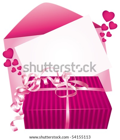 Gift and card. Illustration.