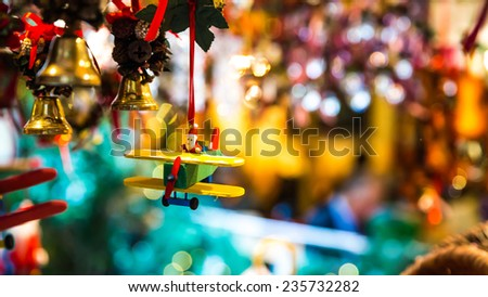 gift and decoration for christmas in a market of Austria - stock photo