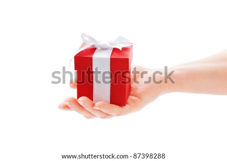 Gift and Hand - stock photo