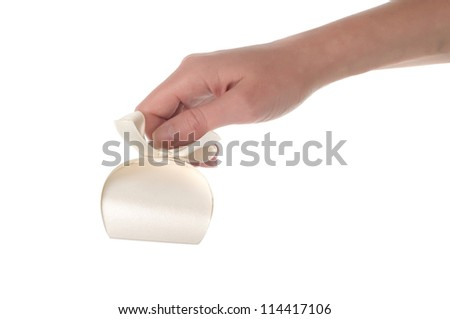 Gift and Hand isolation on white background - stock photo