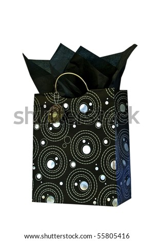 Gift bag in silver and black with tissue - stock photo