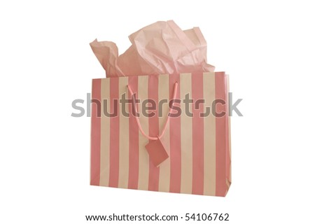 GIFT BAG PINK AND WHITE STRIPED WITH TISSUE - stock photo