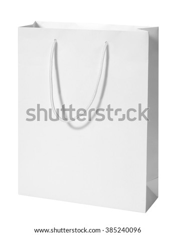 Gift bag / studio photography of White Paper Bag - isolated on white background - stock photo