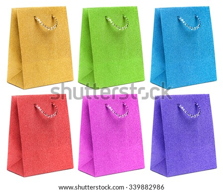 gift bags isolated on white background - stock photo