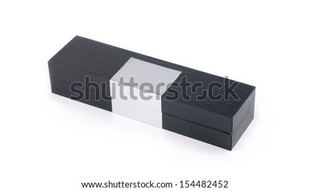 Gift black box isolated on white background - stock photo