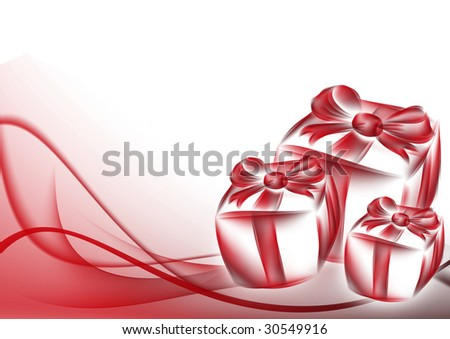 gift box and abstract background red curves