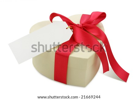 Gift box and blank note isolated on white background