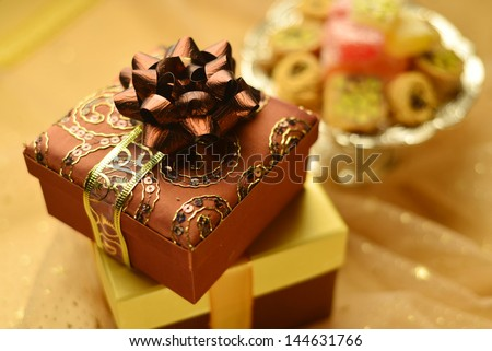 Gift box and sweet - stock photo