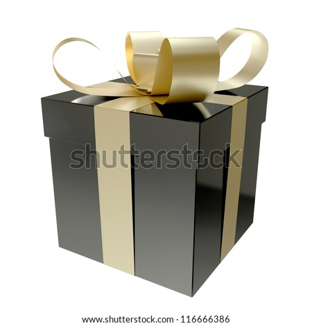 Gift Box Black - stock photo