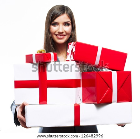 Gift box business woman hold against gray background. Close up Isolated portrait of young smiling model. - stock photo